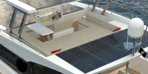 Solar Electric Yachts Sunpower Yachts 44 Aft PORT Top close up-2
