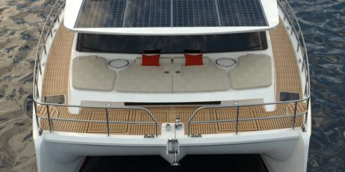 Solar Electric Yachts Sunpower Yachts 44 FRONT WATER closeup-8